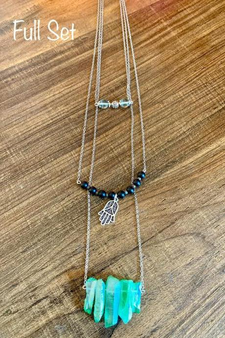 Green Quartz, Black Onxy, Florite Choker Gemstone Necklace Set for Women Handmade Natural Gemstone Set in the US
