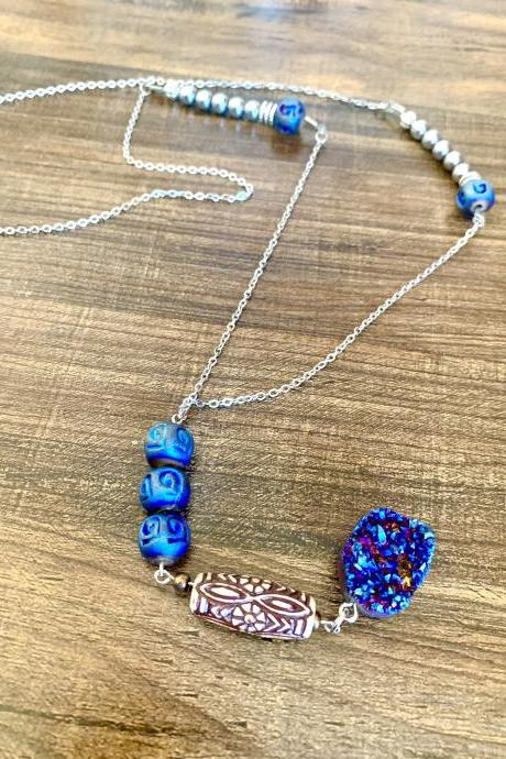 Titanium Quartz and Silver Hematite Beaded Long Gemstone Necklace for Women Blue Pendant with Tribal Beads Handmade in US