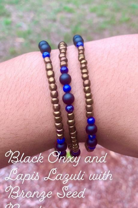 Gemstone Black Onxy, Lapis Lazuli, Rhodonite, or Hematite with Silver or Bronze Seed Beads Layered Bracelet Set For Women Genuine Crystals