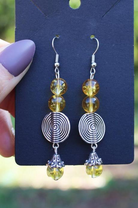 Yellow Citrine Beaded Drop Gemstone Earrings with silver pendant for Women for Healing Boho Metaphysical Beaded Earrings Handmade in the US