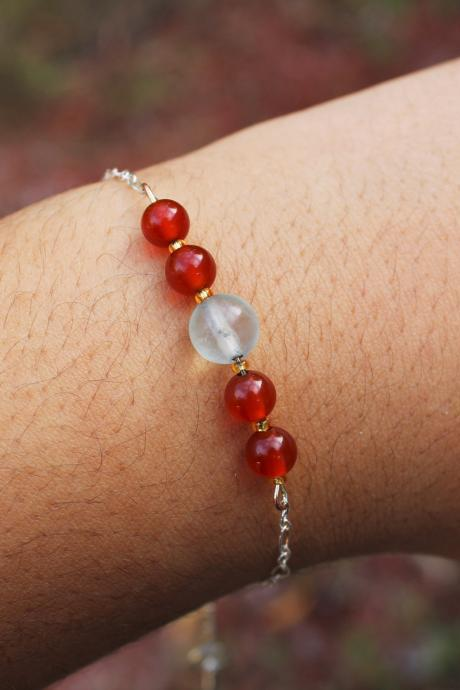 Carnelian and Fluorite Chained Bracelet for Healing and Meditation | Handmade in the US with Red and Light Blue Genuine Gemstone