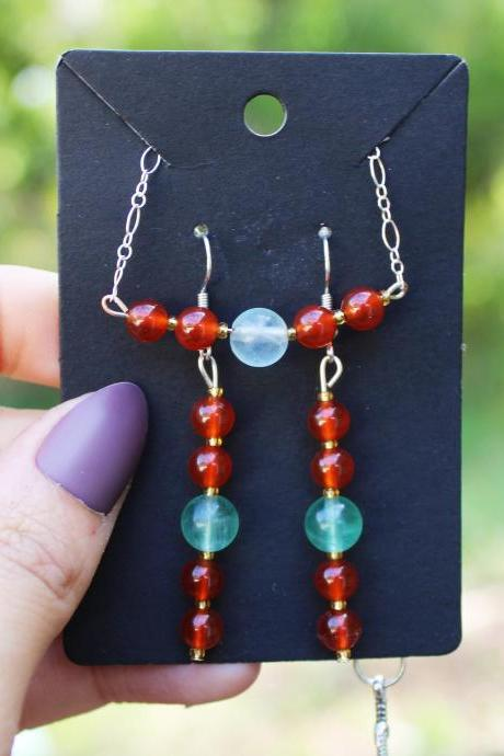 Carnelian and Fluorite Chain Bracelet and Earring Set | Handmade Orange/Red Carnelian and Light Blue Fluorite Chain Set for Healing