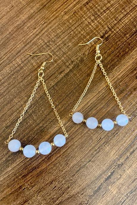 White Agate Beaded Dangle Gold Chain Gemstone Earrings for Women Handmade in the US Genuine Crystal Earrings for Women