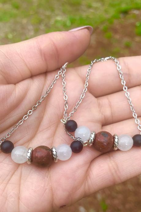 Red Speckled Jasper, White Agate, and Onxy Chain Dangle Earrings for Women made with Genuine Crystals Metaphysical Handmade In the US