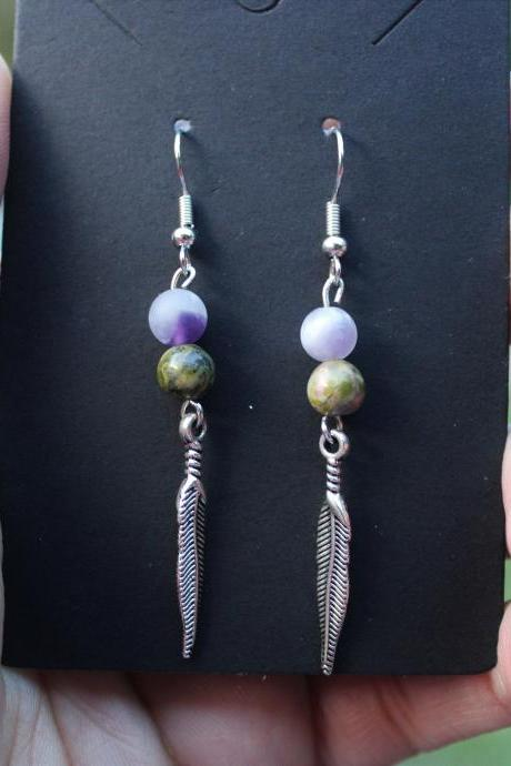 Unakite, Amethyst Drop Gemstone Earrings for Healing Homemade in the US Purple and Green Drop Earrings made with Genuine Crystal and Feather