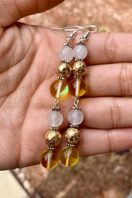Yellow Mystic Aura Quartz, Gold Lava Rock, White Agate Long Dangle Drop Gemstone Earrings for Women Metaphysical Earrings handmade in the US