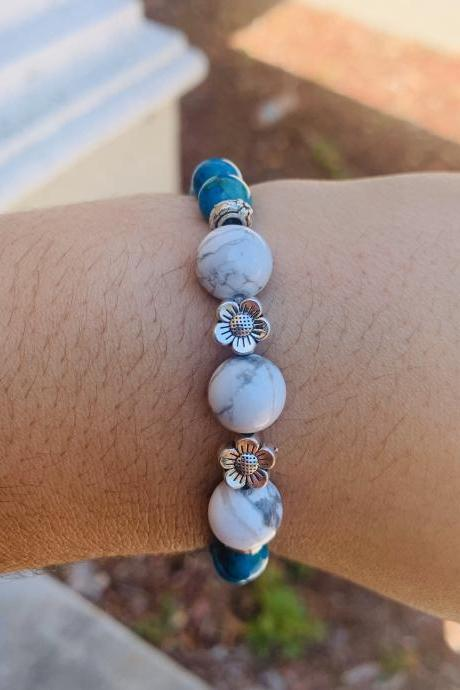 White Howlite, Azurite Stretch Beaded Boho Stretch Gemstone Bracelet for Women w/ Silver Flower Beads Handmade Bracelet made in US for Women