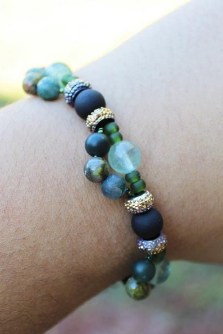 Agate, Indian Agate, Florite, and Unakite Stretch Gemstone Bracelet for Women Handmade in the US Blue Crystal Stretch Bracelet for Healing