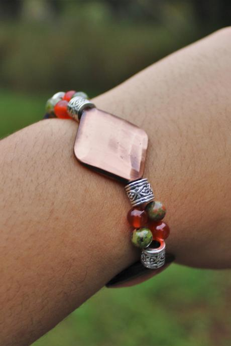 Carnelian and Unakite Bronze Healing for Fertility Pain Meditation Bracelet Gemstone for Fertility Stretch Bracelet Handmade in the US