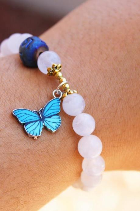 White Agate with Blue Butterfly Charm Gold Beaded Gemstone Boho Stretch Bracelet for Women Handmade in the US for Meditation for Women