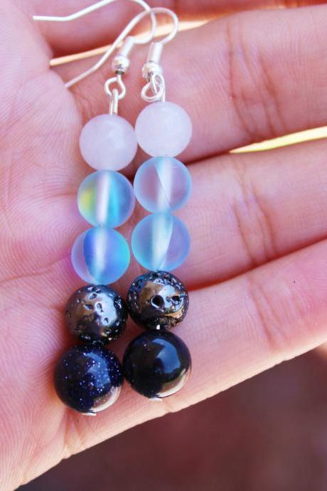 Blue Mystic Aura Quartz, Goldstone, Silver Lava Rock, White Agate for Women Boho Dangle Drop Handmade Gemstone Earrings in US for Meditation