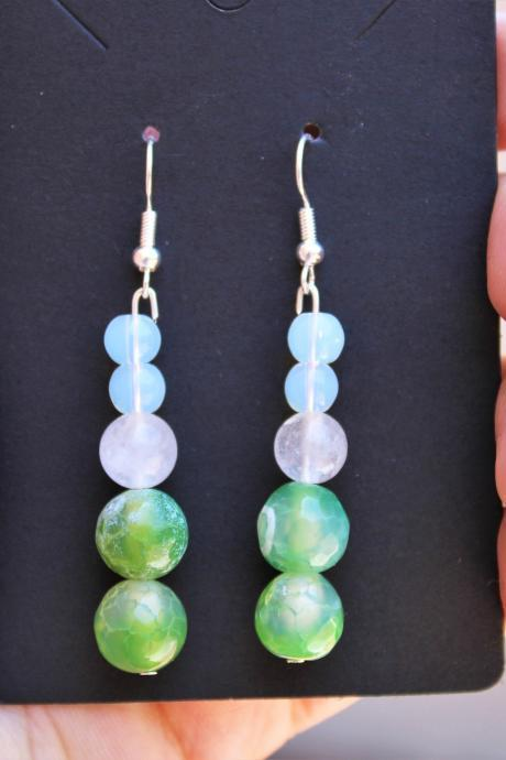 Green Fire Agate, White Agate, Sea Opal Boho Dangle Gemstone Drop Earrings for Women for Healing Handmade Earrings made in the US Green
