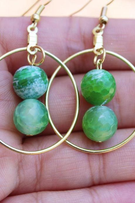 Green, Gold Green Fire Agate Boho Hoop Earrings for Women for Metaphysical Healing Green Handmade Gemstone Earrings Made in US for Healing
