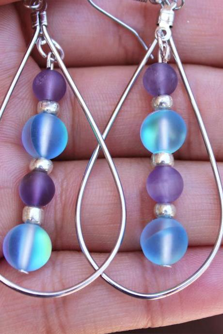 Magic Aura Quartz, Amethyst Oval Hoop Gemstone Earrings for Women for Metaphysical Healing Handmade in the US Blue and Purple Hoop Earrings