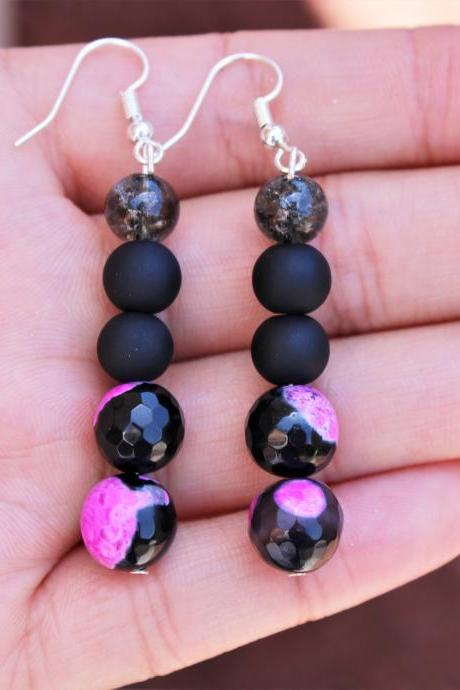 Pink Fire Agate Black Boho Drop Gemstone Earrings for Women for Healing Handmade in the US Metaphysical Healing Agate Earrings