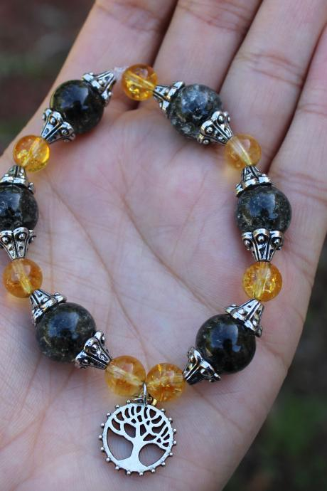 Yellow Citrine Boho Beaded Stretch Gemstone Bracelet for Women for Healing Metaphysical Beaded Bracelet Handmade in the US for Women