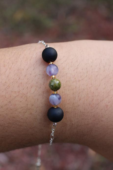 Purple Amethyst, Green Unakite Metaphysical Gemstone Chain Bracelet Metaphysical Healing Purple Green and Black Jewelry Handmade in the US