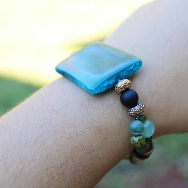 Blue Agate, Indian Agate, Florite, Unakite Stretch Gemstone Bracelet for Women Handmade in the US Blue Crystal Stretch Bracelet for Healing.